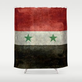 National flag of Syria - vintage Shower Curtain