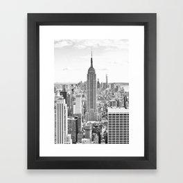 New York City, Manhattan (Black & White) Framed Art Print
