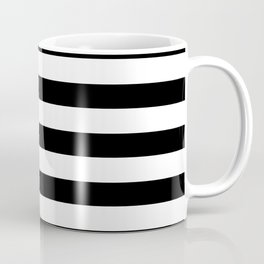 Midnight Black and White Stripes Coffee Mug