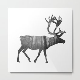 Moose Silhouette   Forest Photography Metal Print