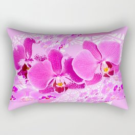 CERISE PINK ORCHID FLOWERS  WHITE PATTERN ABSTRACT Rectangular Pillow