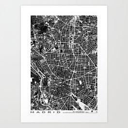 Madrid city map black&white Art Print