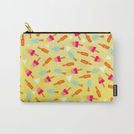 Retro hand drawn mint lemon lime ombre ice cream pattern white triangles illustration Carry-All Pouch