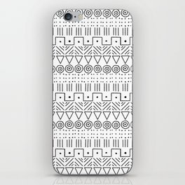 Mudcloth Style 1 in Black on White iPhone Skin