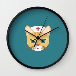 Nurse Cat ~ Teal Wall Clock