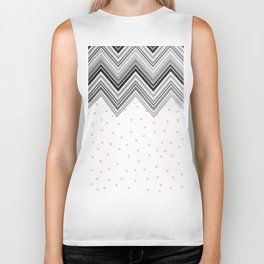 Geometrical black blush pink polka dots chevron Biker Tank