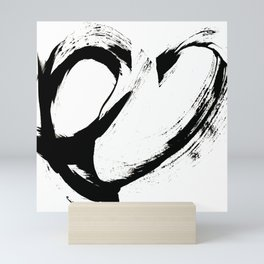 Brushstroke 6: a minimal, abstract, black and white piece Mini Art Print