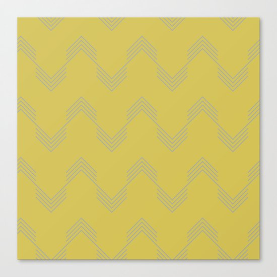 Simply Deconstructed Chevron Retro Gray on Mod Yellow Canvas Print