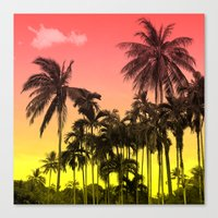 tropical Canvas Prints featuring palm tree  by mark ashkenazi