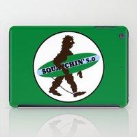 sasquatch iPad Cases featuring Sasquatch Squatchin' Surfing Bigfoot by mailboxdisco