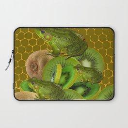3 GREEN FROGS & KIWI FRUIT PATTERNED GREEN-GOLD ART FROM Laptop Sleeve