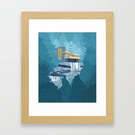 Falling water house Framed Art Print