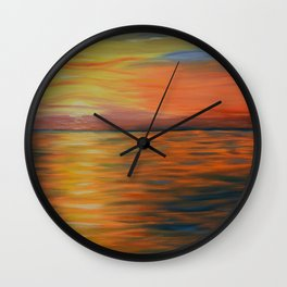 Abstract Art, Ocean Sunset, Seascape Painting Wall Clock