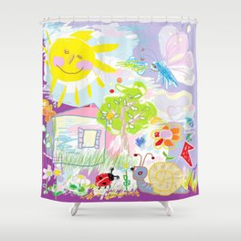 My happy world Doodle for children room Nursery home decor Shower Curtain