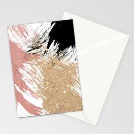 Giant Artsy Brushstrokes in Gold Rose Gold Glitter Stationery Cards