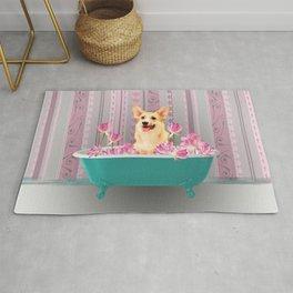 Corgi Dog Bathtub Lotos Flowers #bathtub #corgi Rug