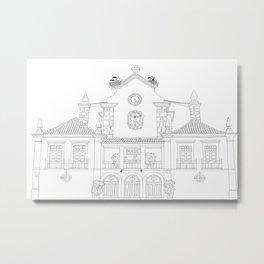 Storks on the Roof - Line Art Metal Print