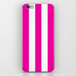 Hollywood cerise pink - solid color - white vertical lines pattern iPhone Skin