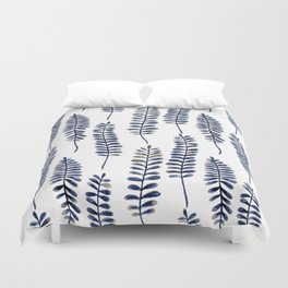 Watercolour Fern Pattern | Navy and Gold Duvet Cover
