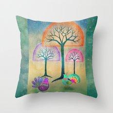 Moon Bird Forest Throw Pillow