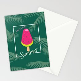 Watermelon Ice Cream Tropical Palm leaves Hello Summer Stationery Cards