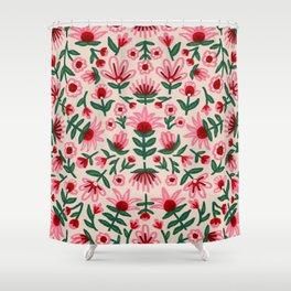 Pink and Red Folksy Floral Print Shower Curtain
