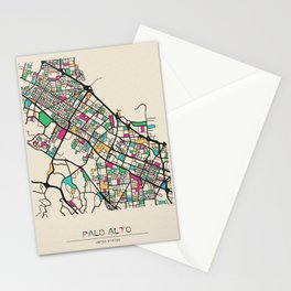 Colorful City Maps: Palo Alto, California Stationery Cards