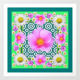 Teal Green Color Art Fuchsia Daisy Pink Roses Patterns Art Print