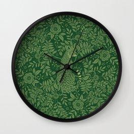 Spring Cheetah Pattern - Forest Green Wall Clock