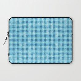Aqua Blue Velvety Gingham Plaid Texture Laptop Sleeve