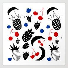 Fruit Salad white Art Print