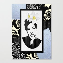 Black and White Floral Lady Day Canvas Print