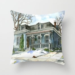A Cozy Winter Cottage Throw Pillow