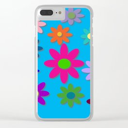 Flower Power - Blue Background - Fun Flowers - 60's Hippie Style Clear iPhone Case