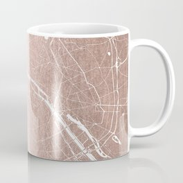 Paris France Minimal Street Map - Rose Gold Glitter on White Coffee Mug