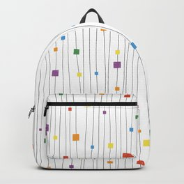 Squares and Vertical Stripes - Rainbow on White - Hanging Backpack