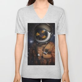 Astronaut and Goldfish Unisex V-Neck