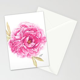 Pink Peony Watercolor Illustration Stationery Cards