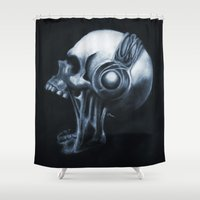 headphones Shower Curtains featuring Skull & Headphones by Courtney Averett