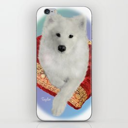 Samoyed Portrait; Taylor on Royal Cushion--Oval iPhone Skin