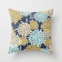 Floral Prints and Leaves, Navy Blue, Aqua, Yellow and Gray Throw Pillow