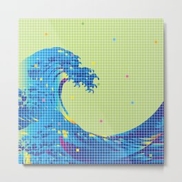 Great Wave in checked pattern_H Metal Print