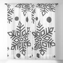 Snow Flakes Christmas Bauble - Black & White Sheer Curtain