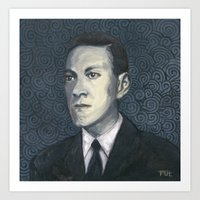 lovecraft Art Prints featuring H.P. Lovecraft by Melinda Hagman