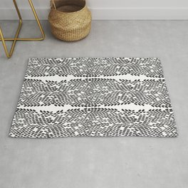 Snake skin scales texture. Seamless pattern black on white background. simple ornament Rug