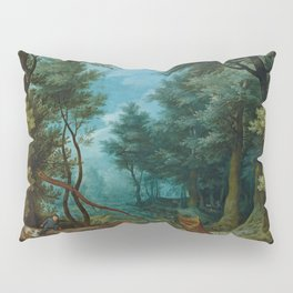 """Jan Brueghel The Elder """"A forest landscape with hunters giving chase to a stag"""" Pillow Sham"""