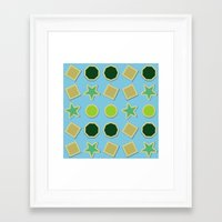 stickers Framed Art Prints featuring Shapes stickers by laly_sb
