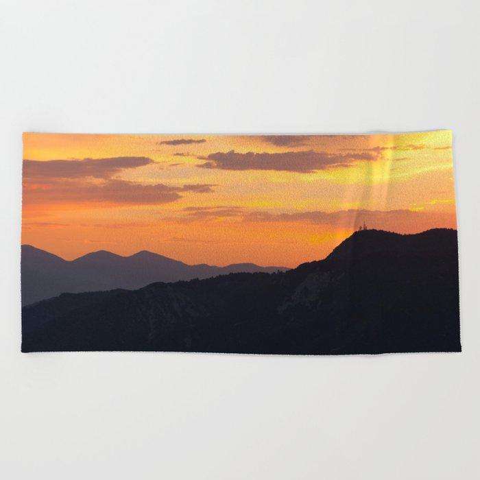 Mountain Sunset III (Big Bear Lake, California) Beach Towel