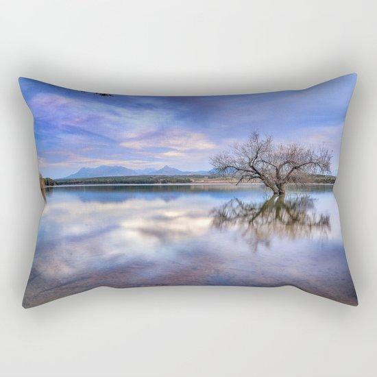 """Magic tree II"" Magic reflections at the lake. Rectangular Pillow"