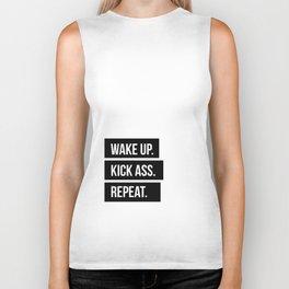 Wake up Kick ass Repeat Biker Tank